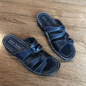Josef Seibel Black Leather Comfort Sandals 37 NWOT